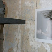 claudia schumann, installationview, IN MEMORIAM, 2009, 50 x 50 cm x 50 x 12 cm steel, 50 x 50 cm photography